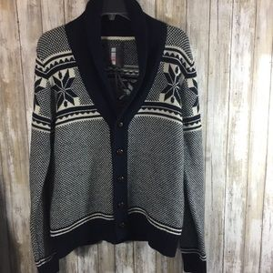 Buffalo blue print vintage style cardigan sweater